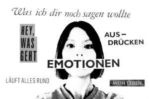Einem Mädchen ist der Mund zugeklebt. Auf dem Tape steht das Wort Emotionen.